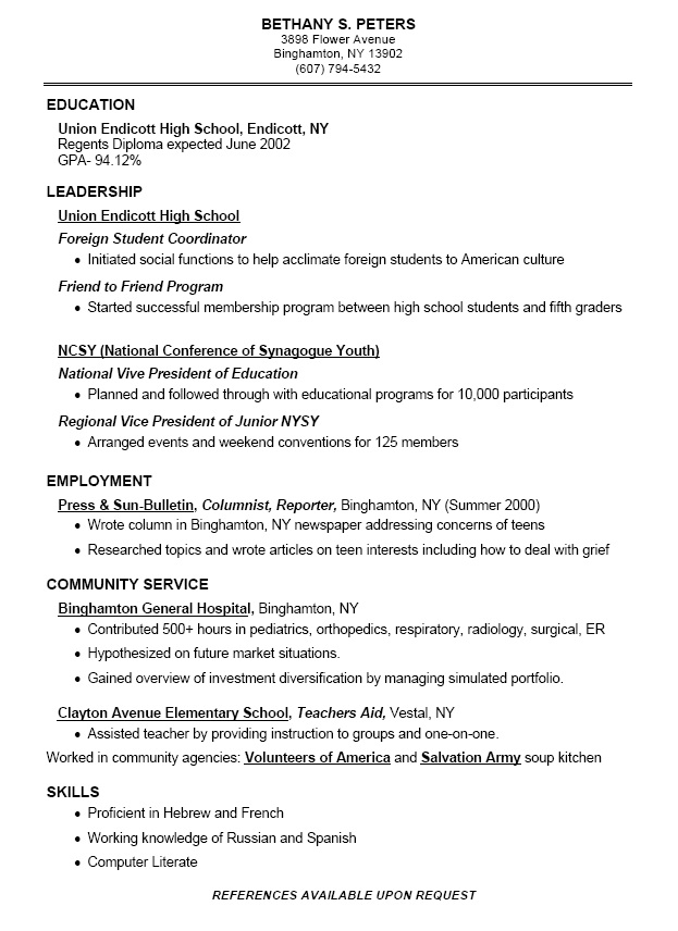 How To Write A Resume As A Highschool Student Resume Examples